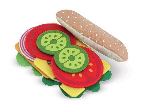 sandwich con alimentos de fieltro